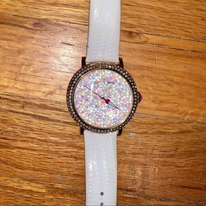 Betsey Johnson gold bling watch